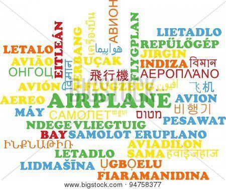 Background concept wordcloud multilanguage international many language illustration of airplane