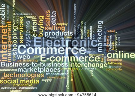 Background concept wordcloud illustration of electronic commerce glowing light