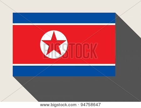 North Korea  flag in flat web design style.