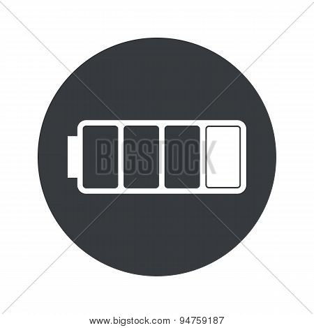 Monochrome round low battery icon