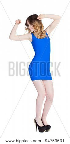 beautiful girl in a blue dress on a white background