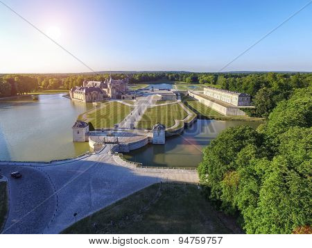 Chateau Chantilly Castle Sunset Aerial