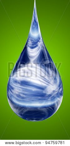 Concept or conceptual clean cold blue rain water liquid drop falling, green gradient  background