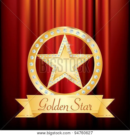golden star with diamonds on golden circle stage with blank banner