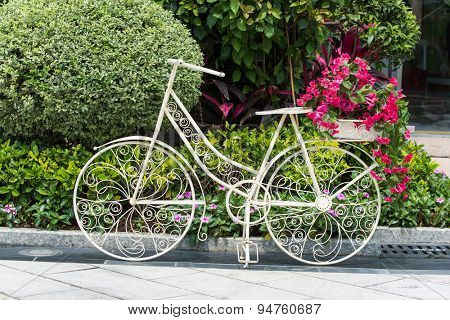bicycle in flower garden