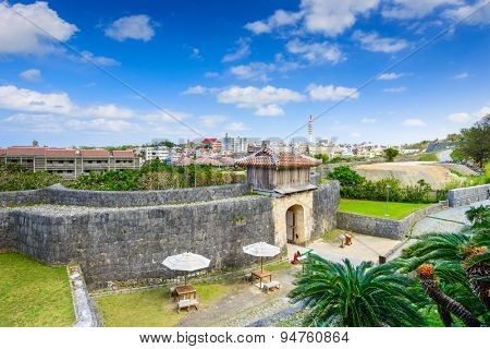 Naha, Okinawa, Japan at the outer wall of Shuri Castle.
