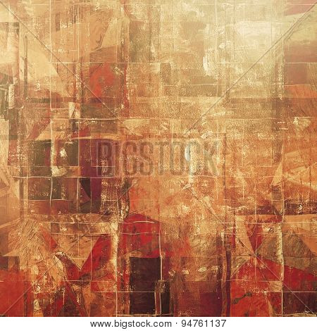 Grunge texture, distressed background. With different color patterns: yellow (beige); brown; gray; red (orange)