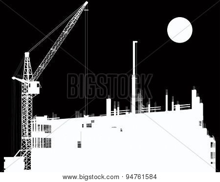 illustration with house building and crane