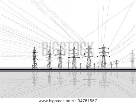 illustration with electric towers group isolated on white background