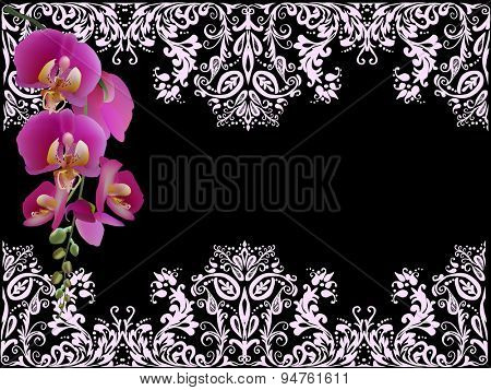 illustration with purple lilac orchid flowers in decorated frame on black background