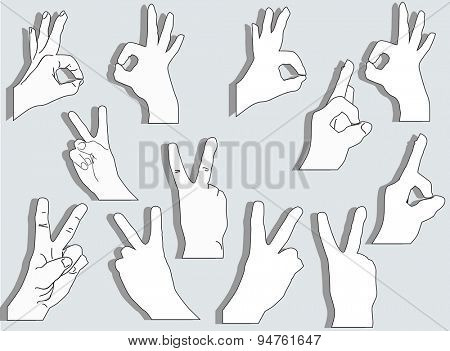 illustration with set of hands isolated on grey background
