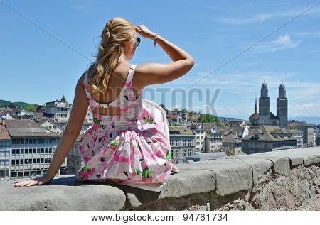 Girl looking to Zurich downtown