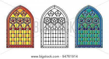 A set of Gothic Style stained glass window in cool tones, warm tones and black and white outline. EPS10 vector format