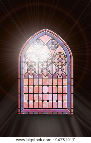 A Gothic Style stained glass window with sunlight shining through. EPS10 vector format