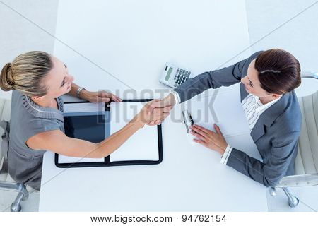 Businesswomen shaking hands in an office