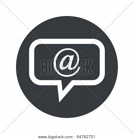 Monochrome round mail message icon
