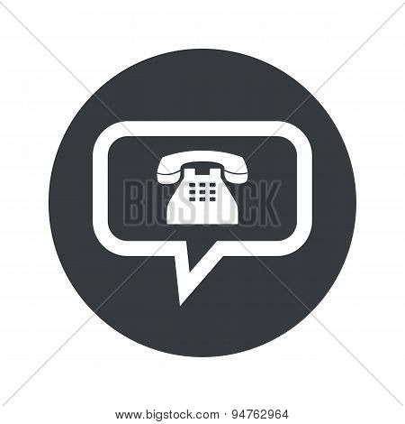Monochrome round phone message icon