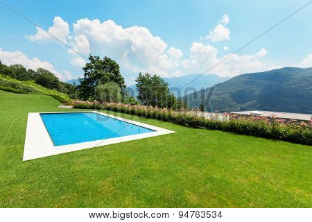beautiful green garden with pool, outdoors