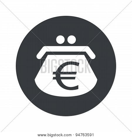 Monochrome round euro purse icon