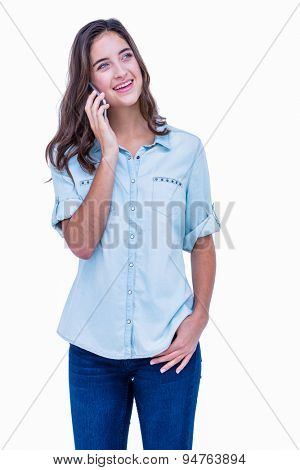 Pretty hipster having a phone call on white background