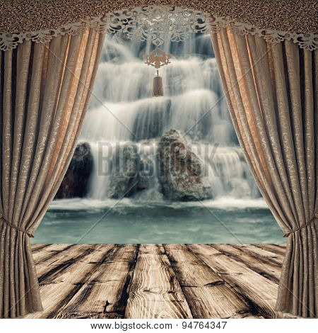 wood textured and fabric curtains backgrounds in a room interior on the waterfallt backgrounds