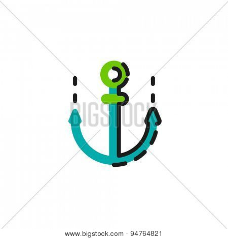 Color line icon for flat design isolated on white. Anchor
