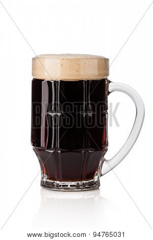 dark beer isolated on white background