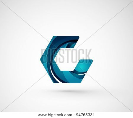 Abstract geometric company logo hexagon shape. Vector illustration of universal shape concept made of various wave overlapping elements