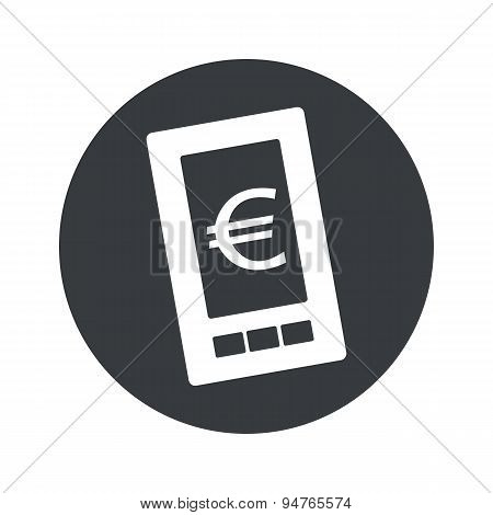 Monochrome round euro screen icon
