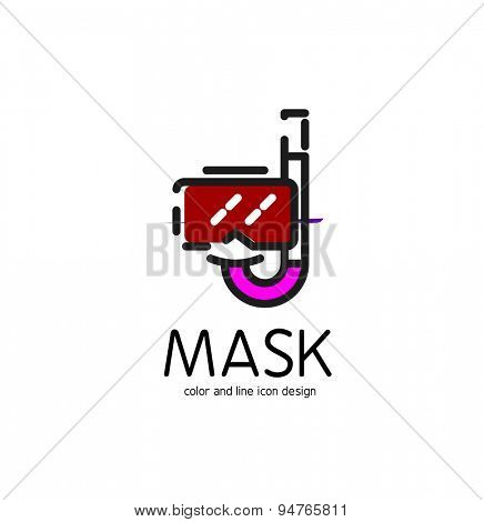 Color line icon for flat design isolated on white. Mask and snorkel
