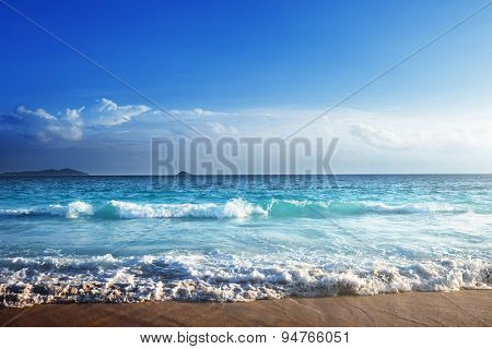 seychelles beach in sunset time