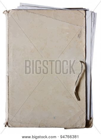 old folder with stack of old papers, vector