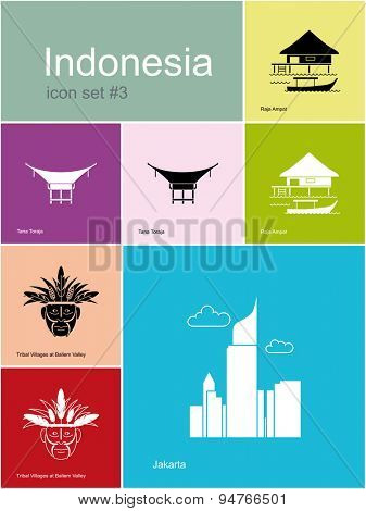 Landmarks of Indonesia. Set of color icons in Metro style. Raster illustration.
