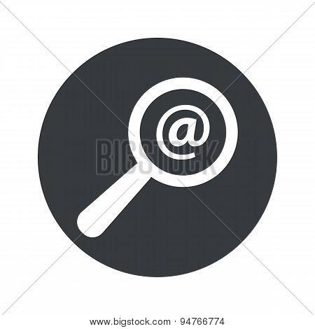 Monochrome round mail search icon
