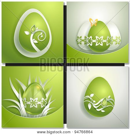 Easter illustration with decorative green egg. Paper design
