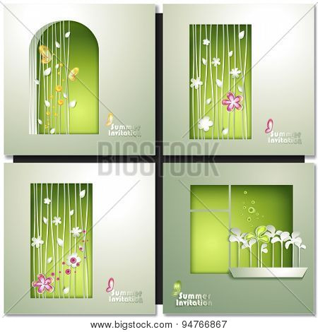 Green summer invitation card. Eco Window House Vector