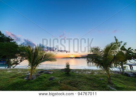 Breathtaking Sunrise On Desert Exotic Beach