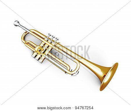 Trumpet Under The White Background