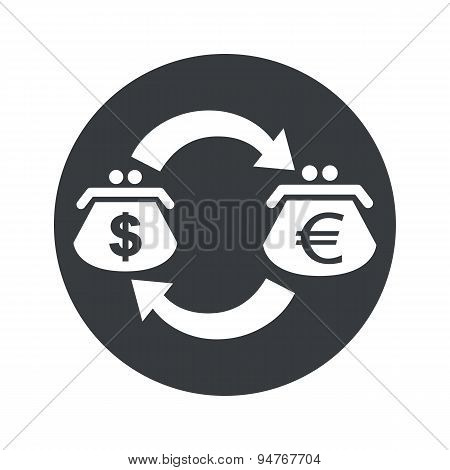 Round dollar euro exchange icon