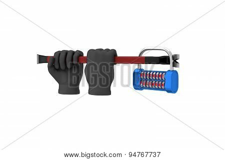 Hands In Black Gloves With A Crowbar Hack The Padlock. 3D Render. White Background.