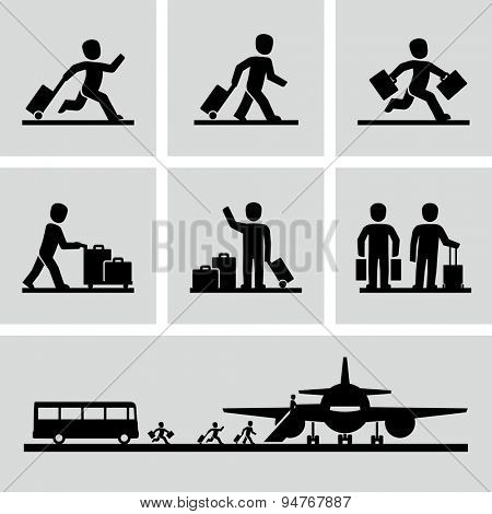 Travel people with luggage bags vector icons