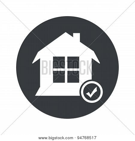 Monochrome round select house icon