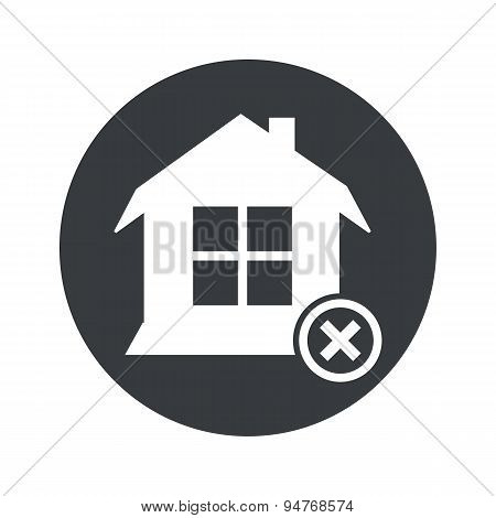 Monochrome round remove house icon