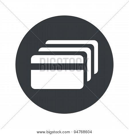 Monochrome round credit card icon