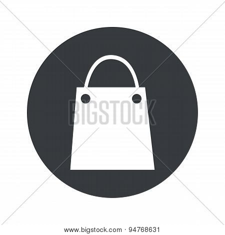 Monochrome round shopping bag icon