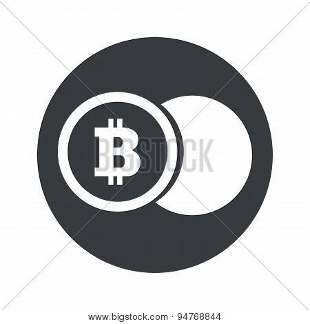 Monochrome round bitcoin coin icon