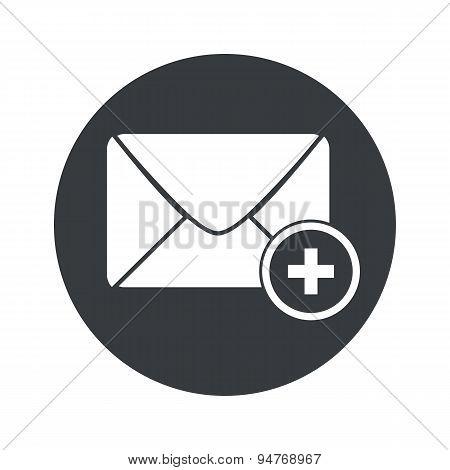 Monochrome round add letter icon