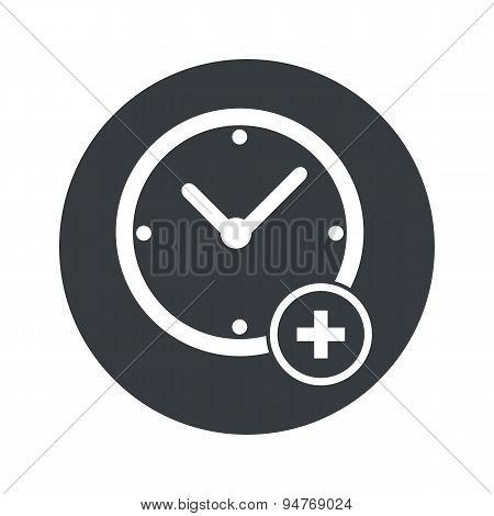 Monochrome round add time icon