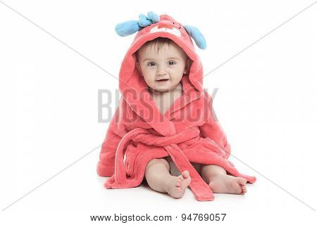 little cute girl in a bathrobe isolated