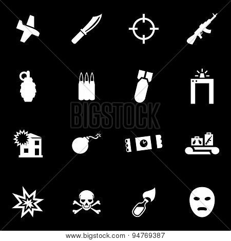 Vector white terrorism icon set